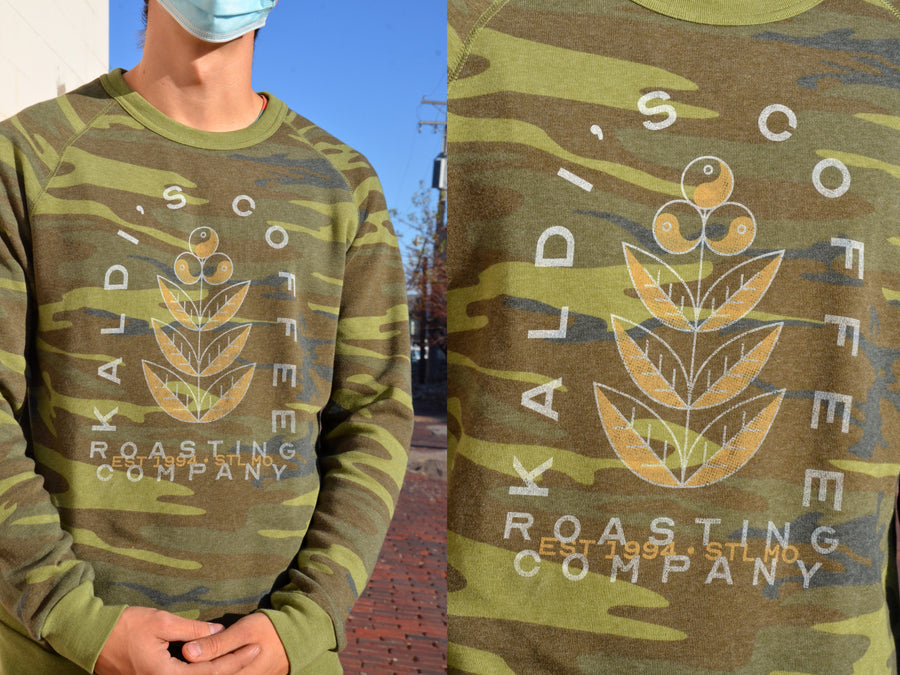 Gift box exclusive: impossibly soft camo sweatshirt with coffee plant and Kaldi's Coffee print