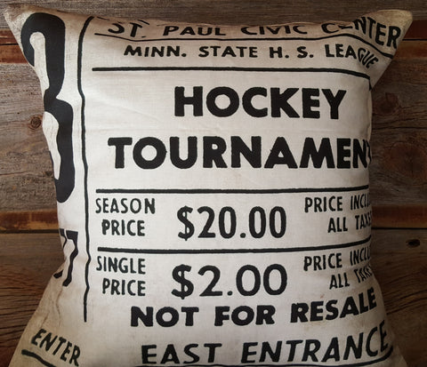 1977 State Tournament Ticket Stub 18x18 Pillow