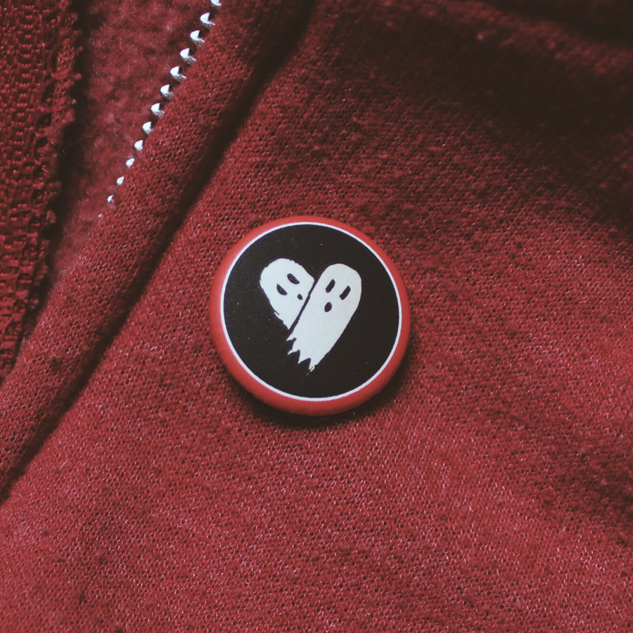 Ghost Heart (Black) Pin