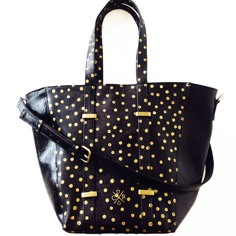 JULIA Tote - Polka Dot & Black