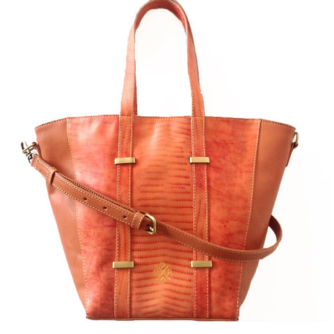 JULIA Tote - Salmon & Tan