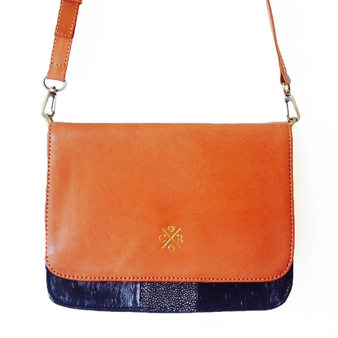 MAGGIE Satchel - Tan & Black