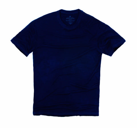 Men's Indigo Dyed Wool Crew Neck T-Shirt