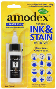 Amodex Ink and Stain Remover – Cleans Marker, Ink, Crayon, Pen, Makeup from Furniture, Skin, Clothing, Fabric, Leather - 30 ml