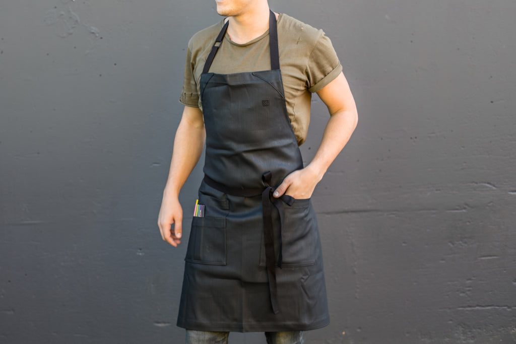 black sesame coated apron
