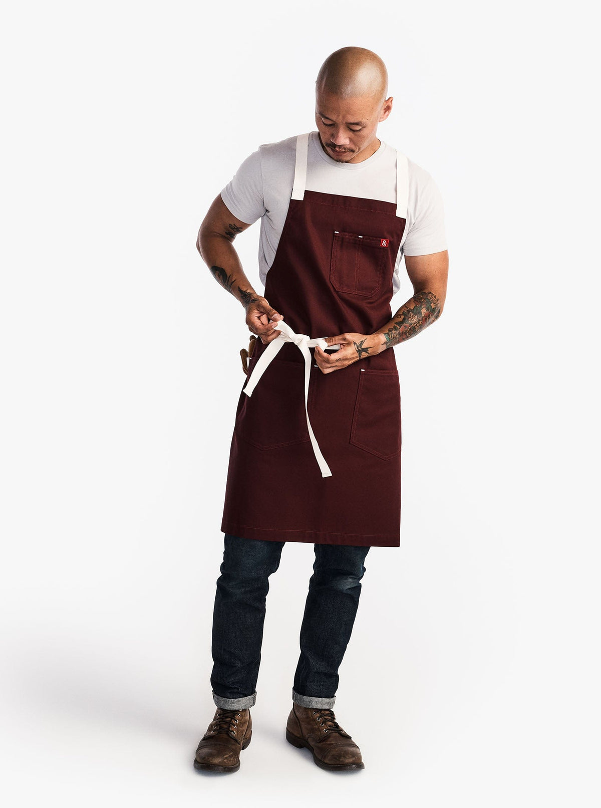 The All Day Crossback Apron - Bordeaux