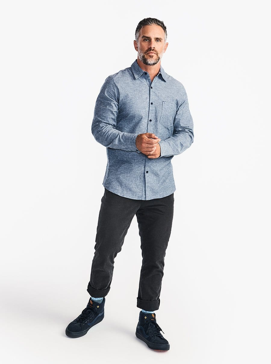 Stretch Chambray Long Sleeve Work Shirt - Speckled Chambray