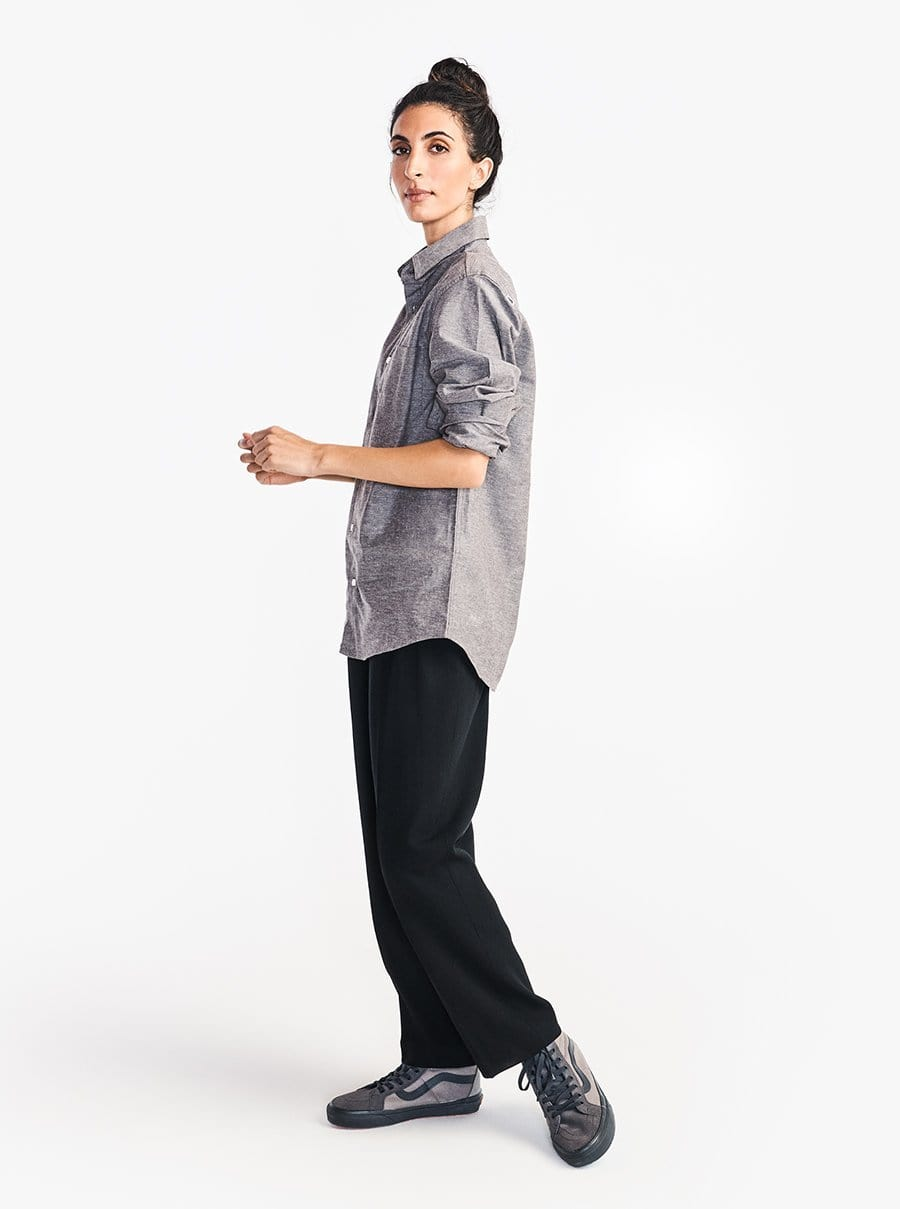 Stretch Chambray Long Sleeve Work Shirt - Gray