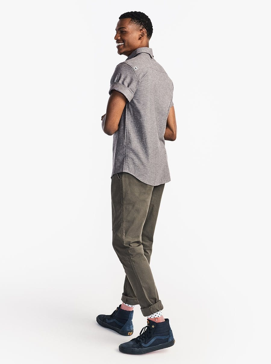 Stretch Chambray Short Sleeve Work Shirt - Gray