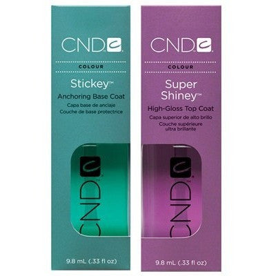 CND Stickey Anchoring Base Coat + Super Shiney High-Gloss Top Coat 0.33 oz - Universal Nail Supplies