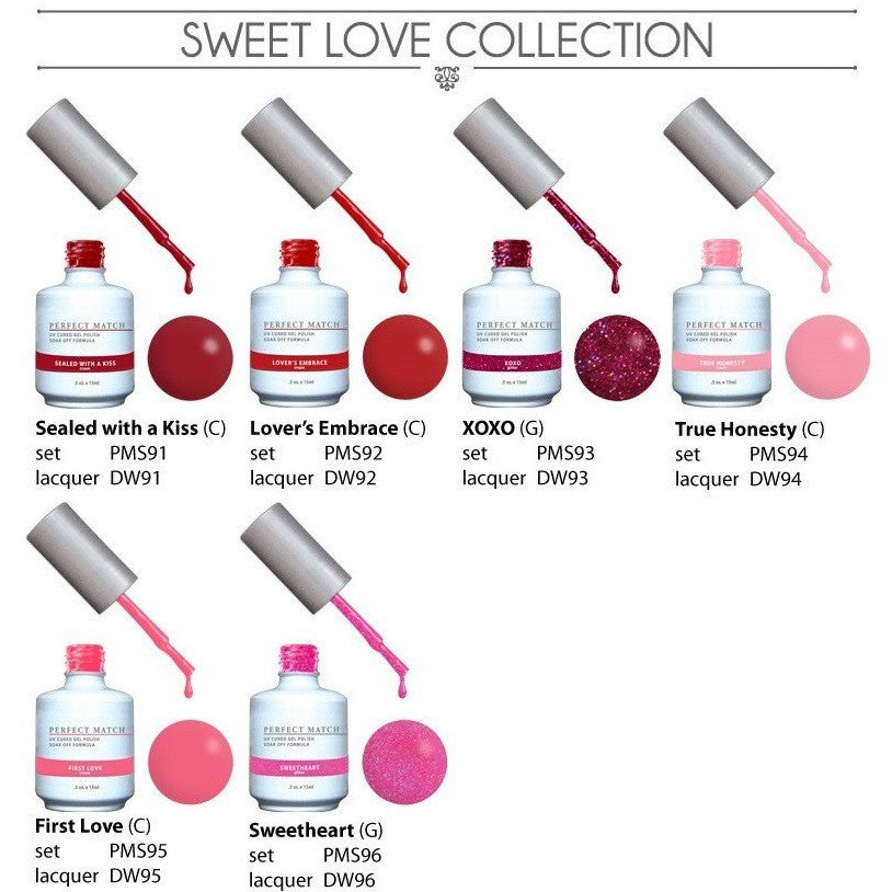 LeChat Perfect Match Gel + Matching Lacquer Sweet Love Collection #91 - #96 - Universal Nail Supplies