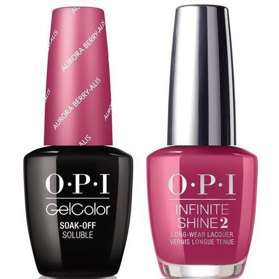 OPI GelColor Aurora Berry-Alis #I64 + Infinite Shine #I64 - Universal Nail Supplies