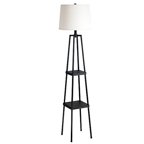 Catalina Lighting 19305-000 Transitional Etagere Floor Lamp With Shelves, Ivory Beige Linen Shade And 3-Way Switch, 58 , Distressed Iron Metal, Black