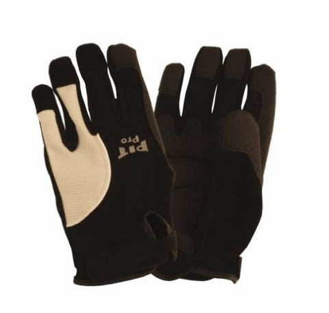 Cordova 77671 Pit Pro Reinforced Palm Padded Activity Glove For Finger Tips And Thumb, Black, Large