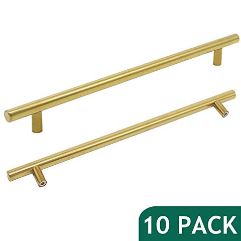 Probrico 10  Hole Centers Brushed Brass Kitchen Cabinet Euro Bar Pulls Gold Bathroom Drawer Handles Furniture Dresser Golden Bar Pulls Set