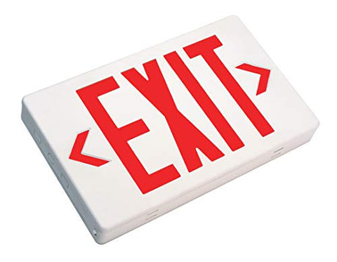 Nicor Lighting Led Emergency Exit Sign, White With Red Lettering (Exl1-10-Unv-Wh-R-2)