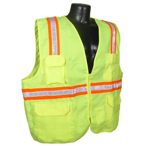 Radians Sv61-Nzgs-L Two Tone Solid Economic Surveyor Non Rated Safety Vest, Green, Large