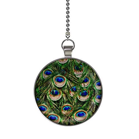 Gotham Decor Peacock Feathers Fan/Light Pull Pendant With Chain
