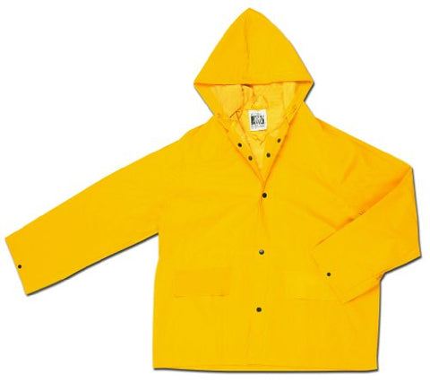 Mcr Safety 200Jhx3 Classic Pvc/Polyester Jacket With Attached Hood, Yellow, 3X-Large