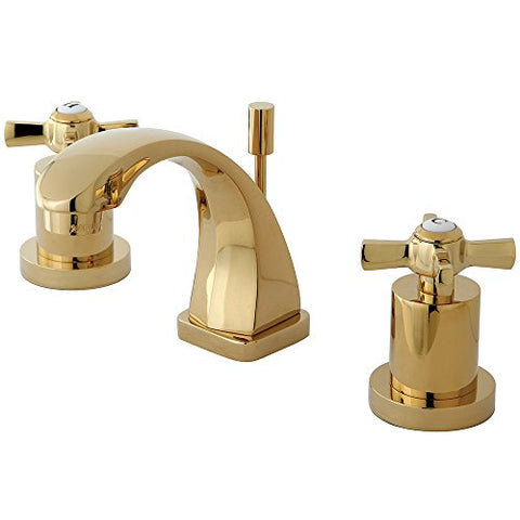 Kingston Brass Ks4942Zx Millennium Mini Widespread Lavatory Faucet With Brass Pop-Up, Polished Brass