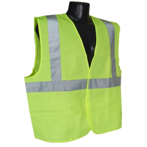 Radians Sv2Zgs5X Polyester Solid Knit Economy Class 2 High Visibility Vest With Zipper Closure, 5X-Large, Green