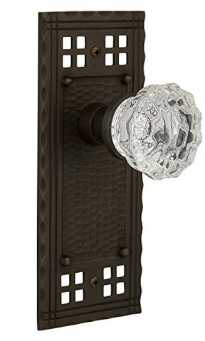 Nostalgic Warehouse Craftsman Plate With Crystal Glass Knob, Passage - 2.375 , Oil-Rubbed Bronze