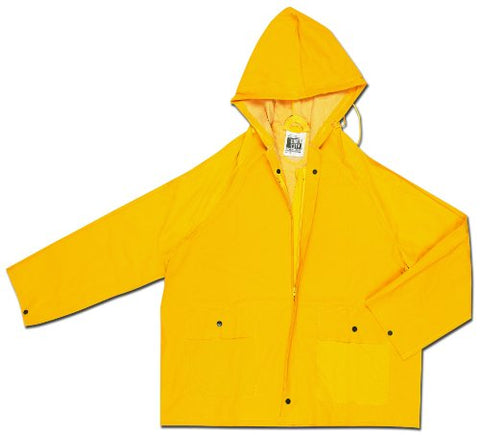 Mcr Safety 220Jhx3 Classic Pvc/Polyester Jacket With Zipper Front And Attached Hood, Yellow, 3X-Large