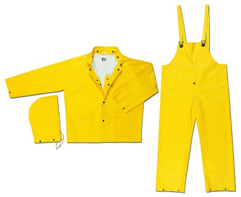 Mcr Safety 6003Xl Commodore Pvc/Non-Woven Polyester/Nylon 3-Piece Rain Suit With Detachable Hood And Reinforced Crotch, Yellow, X-Large