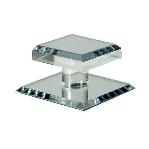 Mirart 1-1/2 X 2 Pull Handle, Self Stick Square Acrylic Mirror Knob (1)