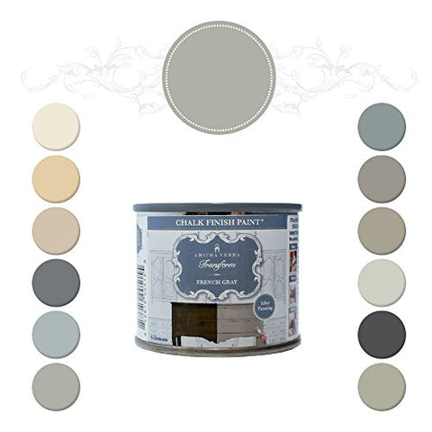 Amitha Verma Chalk Finish Paint, No Prep, One Coat, Fast Drying | Diy Makeover For Cabinets, Furniture &Amp; More, 4 Ounce, (French Gray)