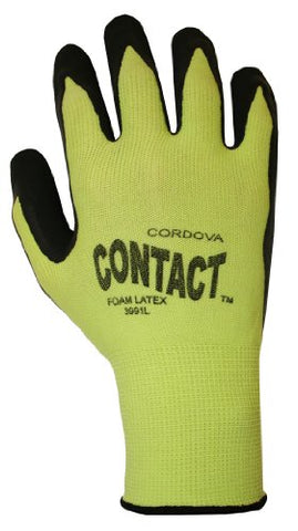 Cordova 3991L Hi-Vis Green Nylon Shell Black Foam With Latex Palm Coating, Blue, Large