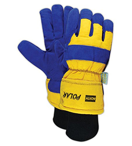 North By Honeywell 70/6465Nk North Polar 706465Nk Insulated Split Leather Palm Gloves, Leather, Men'S (Fits Large), Blue/Yellow