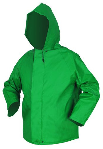 Mcr Safety 388Jhxl Dominator Pvc/Polyester Jacket With Attached Drawstring Hood, Green, X-Large