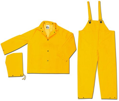 Mcr Safety 2003Fl Classic Pvc/Polyester 3-Piece Rainsuit With Attached Hood And No Fly, Yellow, Large