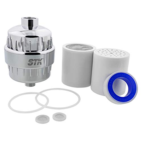 Heavy Metals Shower Head Water Softener For Hard Water Chloramine STK High Flow Water Shower Filter to Remove Chlorine and Fluoride and Lead Universal Fitting Chrome with 2 Replacement Cartridges