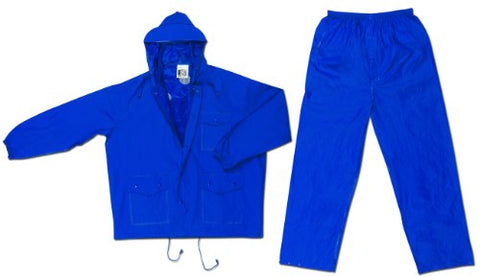 Mcr Safety 7032X4 Challenger Pvc/Nylon Double Stitched 2-Piece Suit With Attached Hood, Blue, 4X-Large