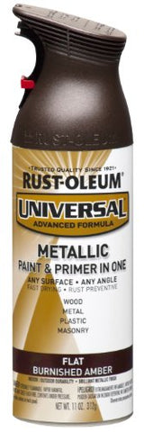 Rust-Oleum 271472 Universal All Surface Spray Paint, 11 Oz, Flat Metallic Burnished Amber
