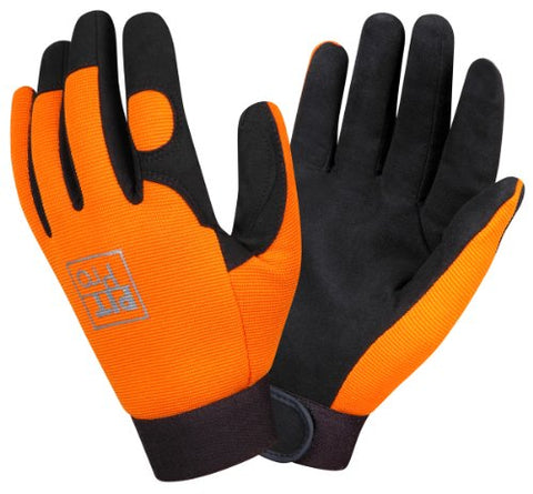 Cordova 77071 Pit Pro Synthetic Leather Palm Activity Glove, Orange, Large