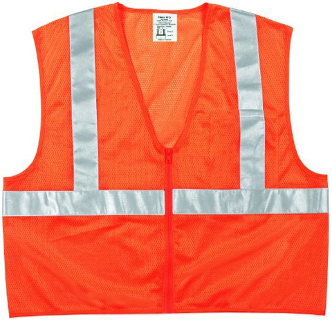 Mcr Safety Cl2Mopx3 Class 2 Polyester Safety Vest With 2-Inch Silver Stripe And Pocket, Fluorescent Orange, 3X-Large