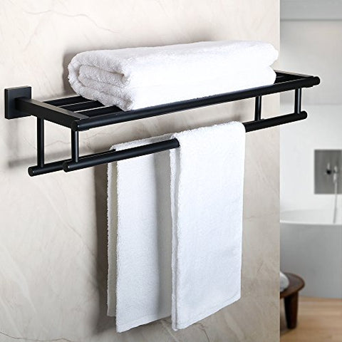 Alise Gz8000-B Bathroom Lavatory Towel Rack Towel Shelf With Two Towel Bars Wall Mount Holder,Sus 304 Stainless Steel Matte Black