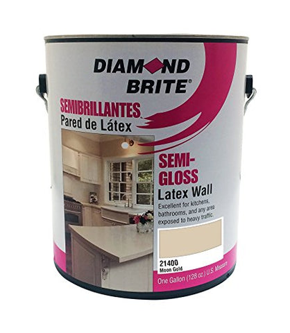 Diamond Brite Paint 21400 1-Gallon Semi Gloss Latex Paint Moon Gold
