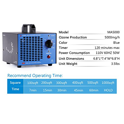 Airthereal Ma5000 Commercial Ozone Generator 5000Mg/H O3 Machine Home Air  Ionizer Sterilizer Deodorizer For Rooms, Smoke, Cars And Pets (Blue)