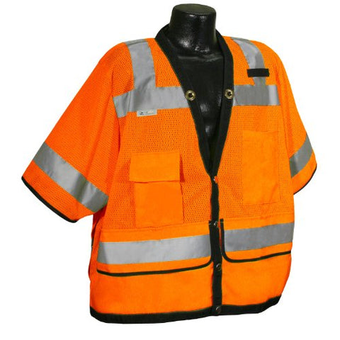 Radians Sv59-3Zod-3X Class 3 Heavy Duty Surveyor Saftey Vest, Orange Mesh Solid, 3 Extra Large