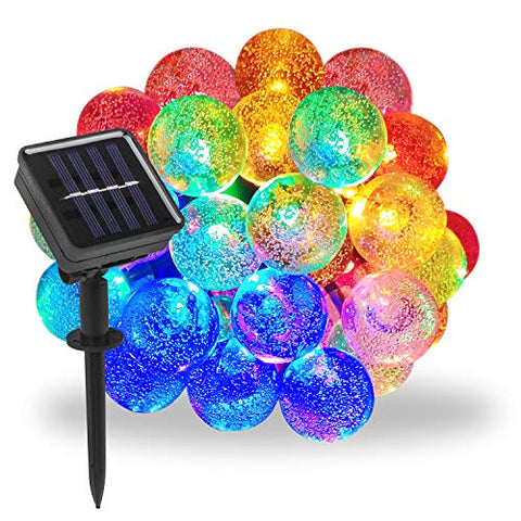 Beinhome Outdoor Solar String Lights 21.3Ft 30 Led 8 Modes Solar Globe String Lights, Waterproof Multi Color Changing Solar Fairy Lights Decorative For Garden, Patio, Yard, Wedding, Party
