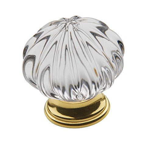 Baldwin Estate 4328.030 Crystal Cabinet Knob In Polished Brass, 1.75  Diameter