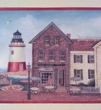 Harbor Town Lighthouse Boats Ships Wallpaper Border - Red Edge