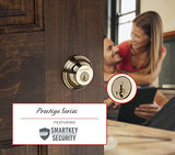 Baldwin Prestige 385 Round Double Cylinder Deadbolt Featuring Smartkey In Lifetime Polished Brass