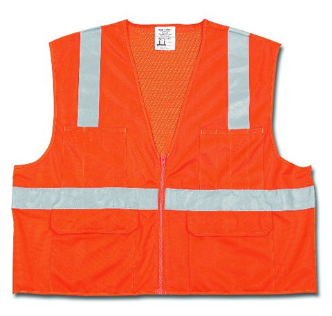 Mcr Safety Cl2Ocx3 Class 2 Polyester Mesh Safety Vest With 2-Inch Silver Stripe, Fluorescent Orange, 3X-Large