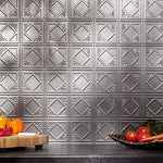Fasde Easy Installation Traditional Style/Pattern #4 Argent Silver Backsplash Panel For Kitchen And Bathrooms (18  X 24  Panel)