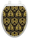 Toilet Tattoos Tt-1037-O Rococo Black And Gold Design Toilet Seat Applique, Elongated